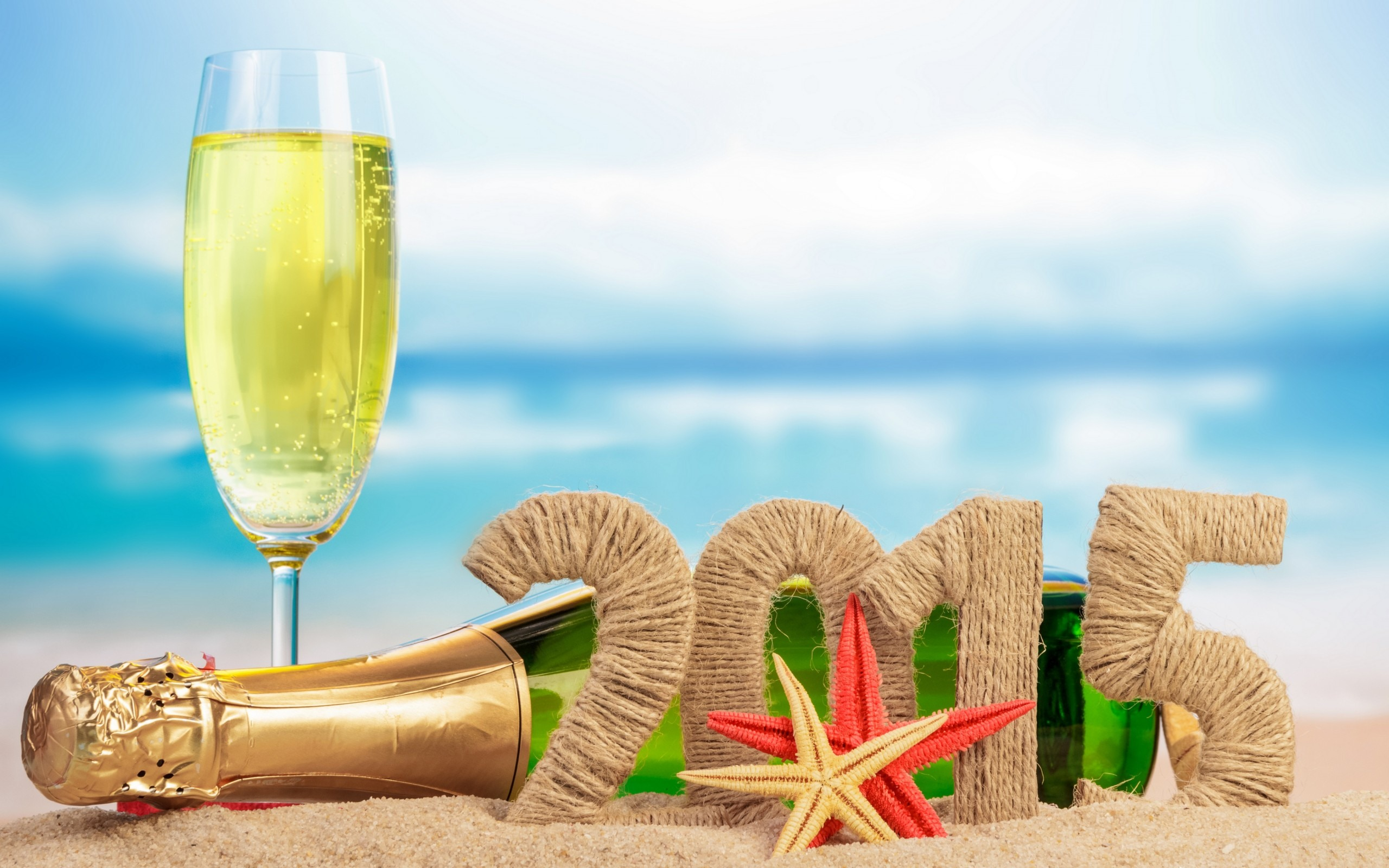 Happy New Year Beach 2015 Wallpaper Champagne