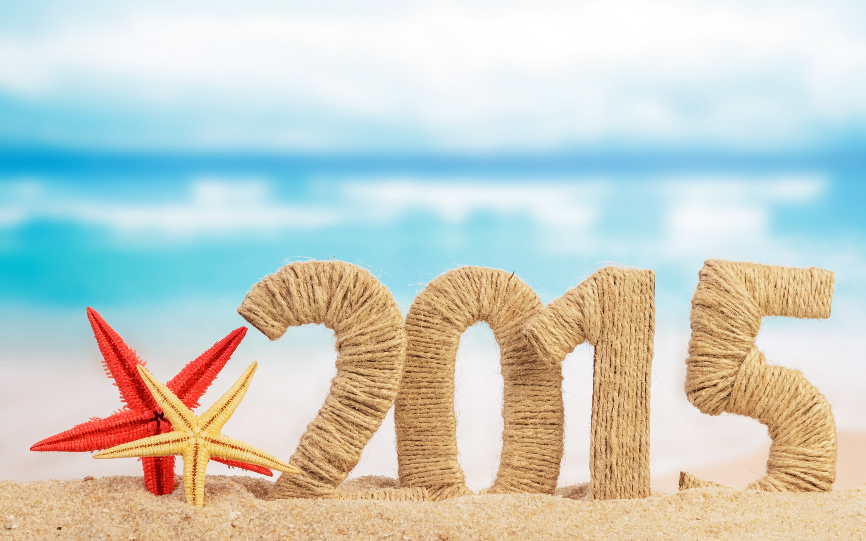 Happy New Year Beach Woolen Art 2015 Wallpaper