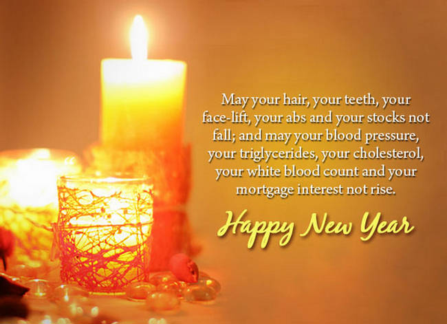New Year Greetings Card Candle