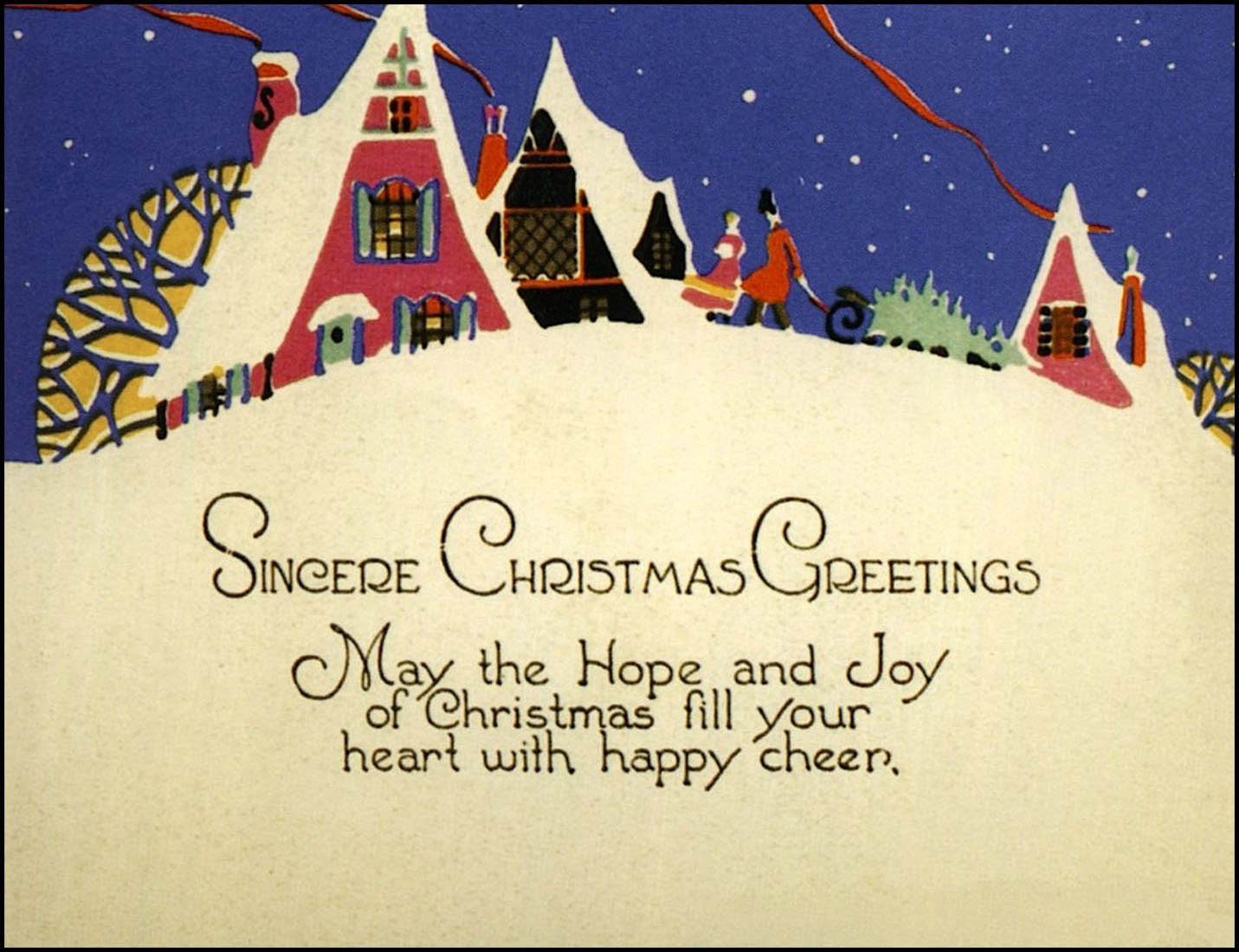 Old Christmas Greetings 1920s Card